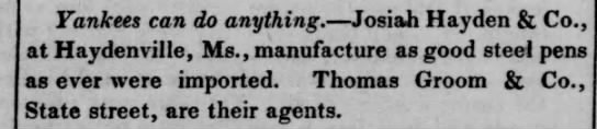 Pen History, the 1840's: JosiahHayden