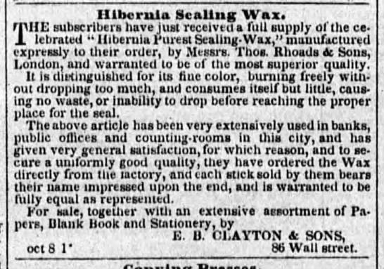 1848 thomas rhoads and sons sealing wax