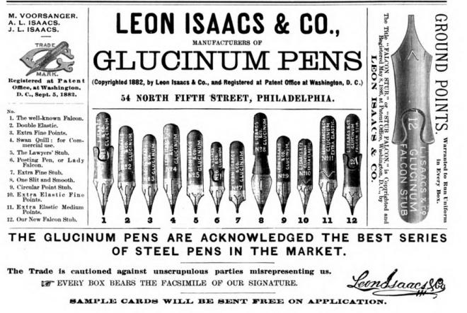 1889 Leon Isaacs ad with stub falcon
