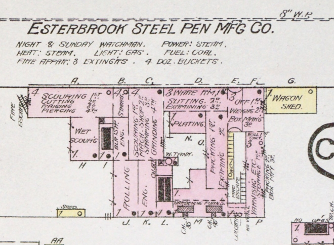Sanborn map of 1885 Esterbrook Factory in Camden