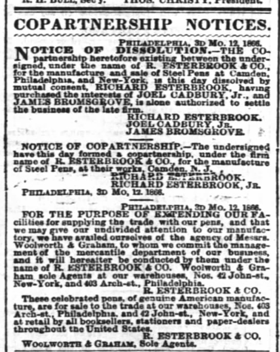1866 Esterbrook dissolves partnership